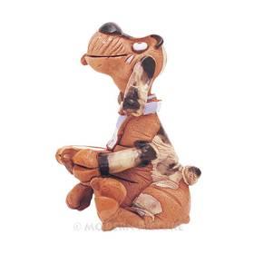Räucherfigur Hund  sitzend mit Napf aus Keramik Handarbeit – Bild 2