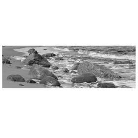 Kunstdruck Ostseestrand Meerküste Steine Fotodruck schwarz/weiß 95x33 cm
