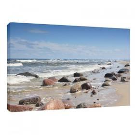 Leinwandbild Leinwanddruck Ostsee Stein Küste Strand Meer ab 40 x 30 cm – Bild 1