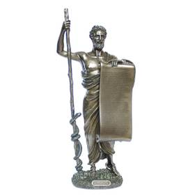 Figur Hippokrates mit Eid auf Schriftrolle deutsch bronziert – Bild 1