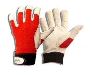 Griffy 1 Paar Montage Handschuhe aus Ziegen-Nappaleder Rot-Weiss – Bild 1