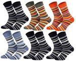 Tobeni 6 Paar Kindersocken Ringel mit Frotteefutter Thermo Socken für Jungen und Mädchen