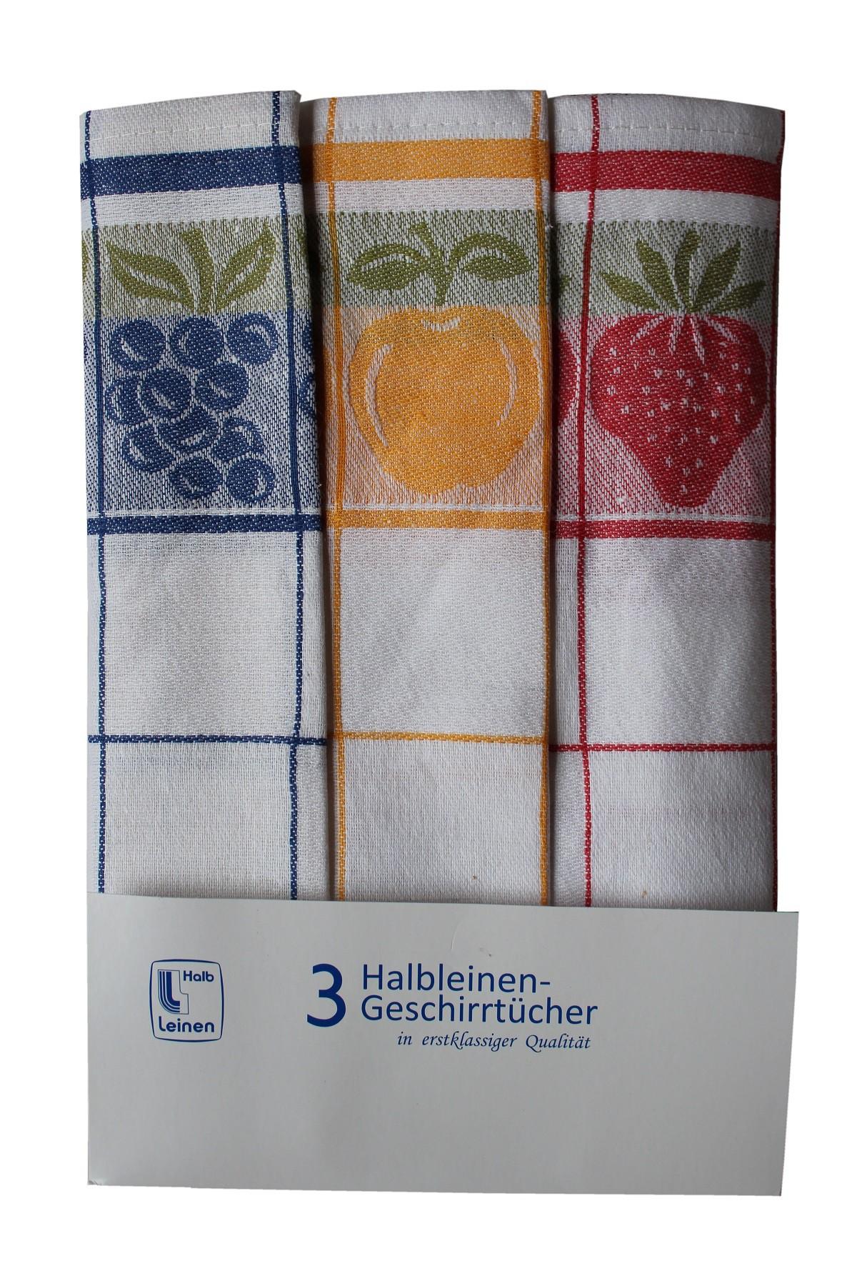 Triolino 3-er Set Jacquard Halbleinen Geschirrtücher Küchentücher ...