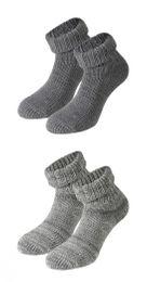 Tobeni 2 Paar Damen Socken Home Socks mit Umschlag aus hochwertiger Wolle – Bild 4