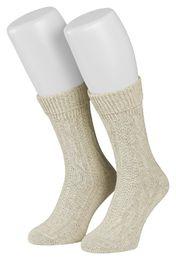 Tobeni 1 Paar Trachtensocken Socken kurz mit Umschlag und Zopfmuster Baumwolle-Leinen meliert für Damen und Herren – Bild 1