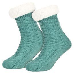 Tobeni 1 Paar Damen Homeshoe ABS Socken Kuschelsocken mit Anti-Rutsch Noppen Sohle – Bild 4
