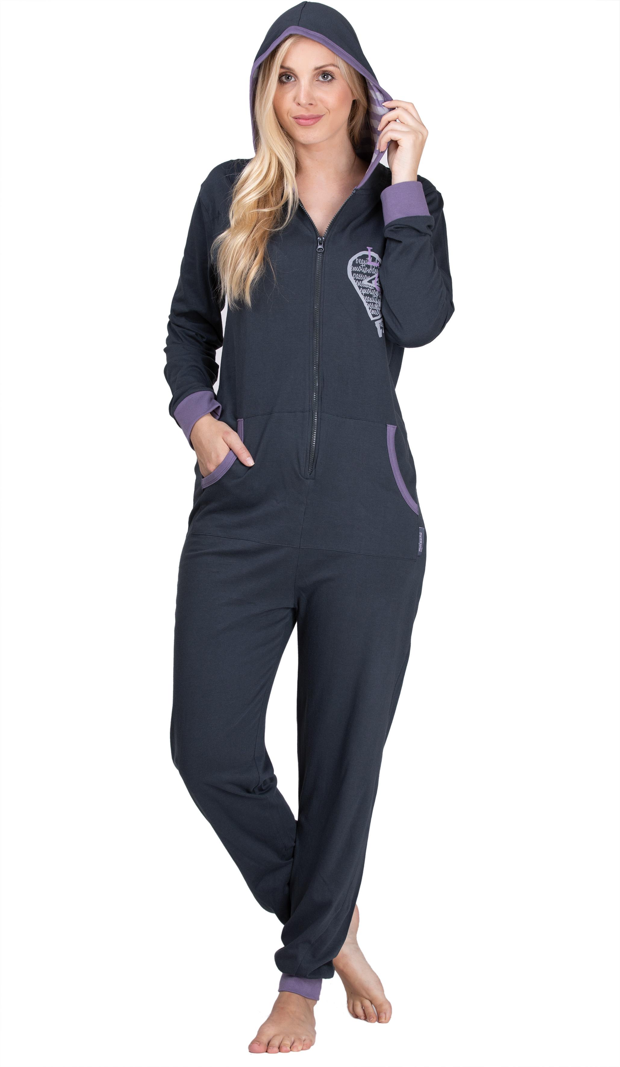 Großhandelspreis 2019 großer Abverkauf neueste auswahl maluuna - Damen Jumpsuit, Onesie, Overall, Einteiler mit Bündchen an Arm-  und Beinabschluss aus 100% Baumwolle