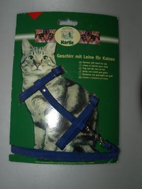 Geschirr mit Leine für Katzen, Farbe: blau – Bild 1
