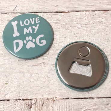 """I LOVE MY DOG - Mint""Magnet-Flaschenöffner – Bild 2"
