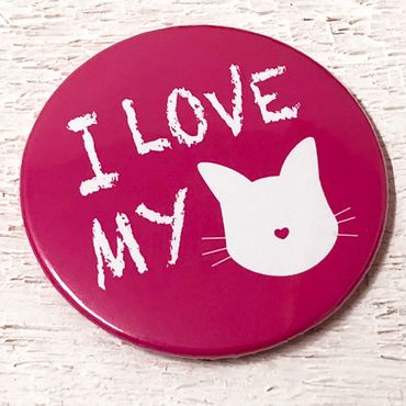 """I LOVE MY CAT - pink"" Magnet-Flaschenöffner – Bild 1"