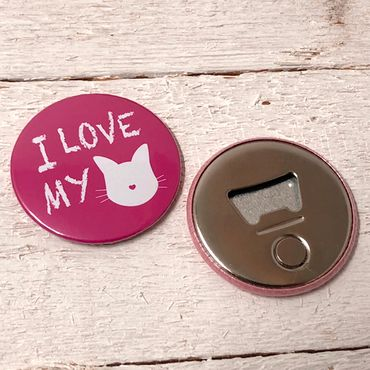"""I LOVE MY CAT - pink"" Magnet-Flaschenöffner – Bild 2"
