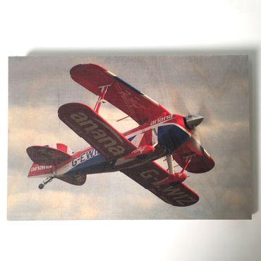 Flugzeugbilder - Holzbild Flugzeug Pitts S2S privat, Größe: klein – Bild 1