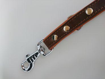 Leder Halsband (klein) und Führleine braun – Bild 2
