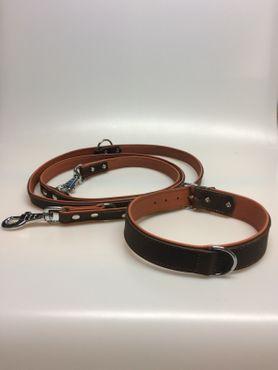 Leder Halsband (groß) und Führleine braun – Bild 1