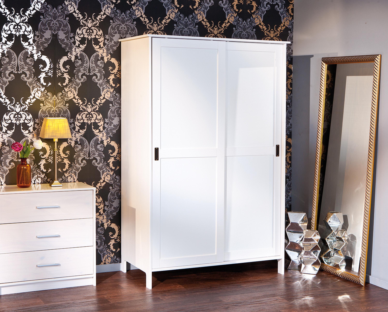 Schrank Kleiderschrank Massivholz weiß 2 Schiebetüren