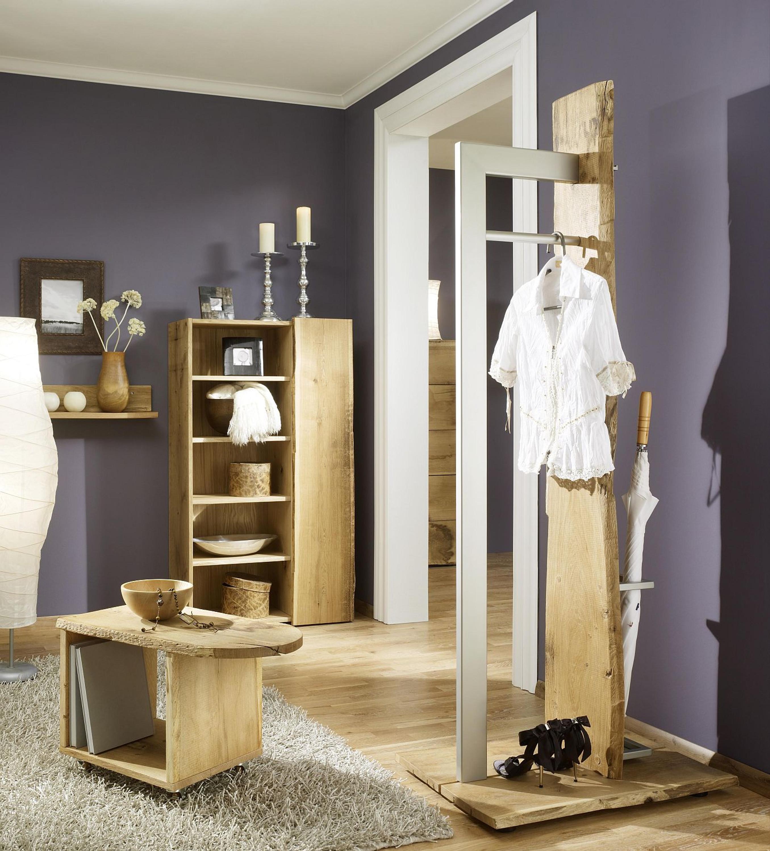 Garderobe Set 4 Tlg Eiche Massiv Rollwagen Hochschrank Ablage Aw