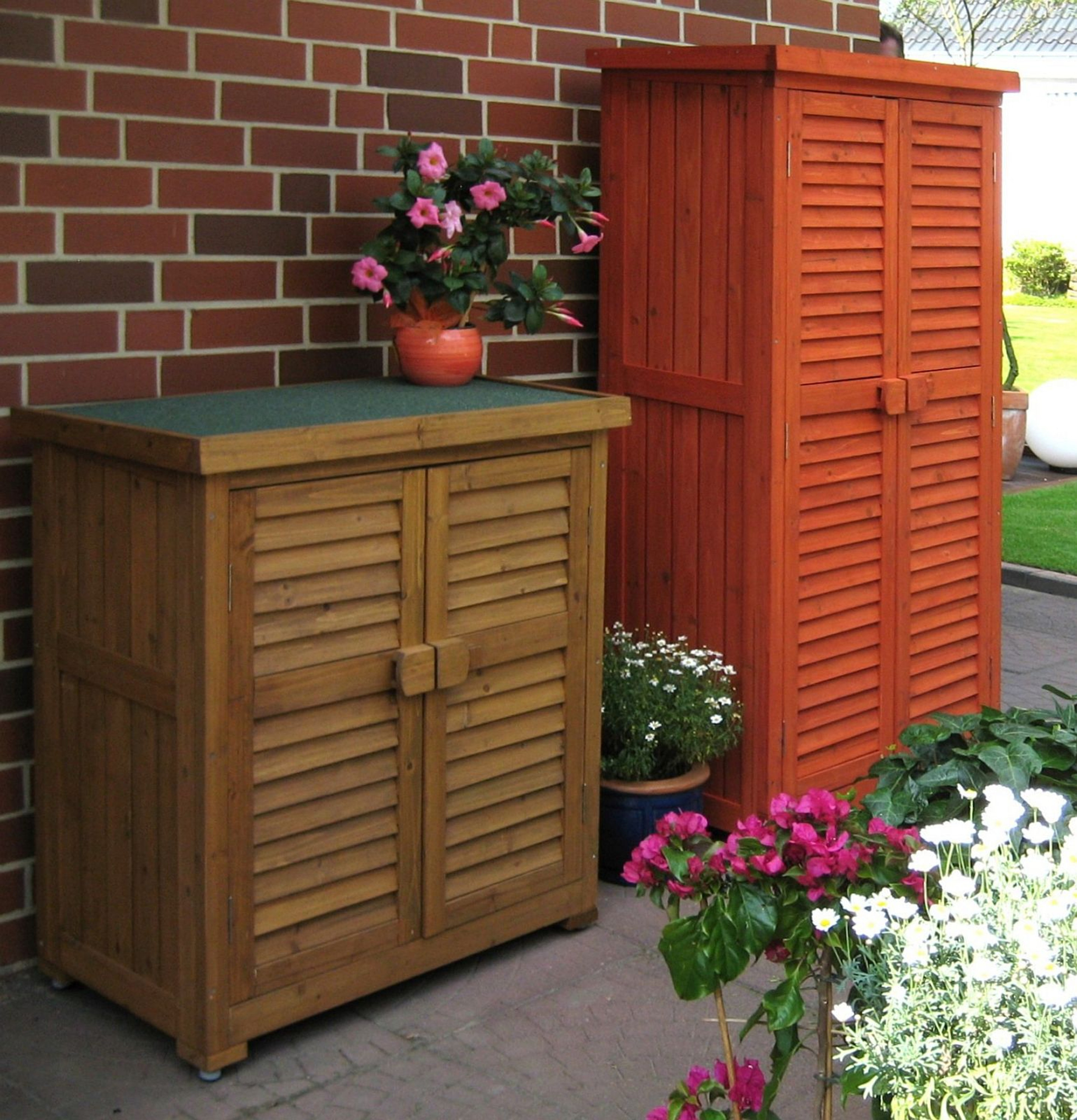 Garden Cupboard 2 Colours 2 Sizes Solid Wood Outdoor Storage Lc