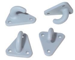 10 Stück - Dreiloch - Planenhaken - Kunststoff - Netzhaken