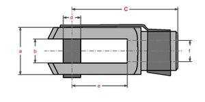 2 Stück - Gabelkopf 5x20 - M5 links + ES- Federbolzen  DIN71751 verzinkt