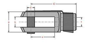 2 Stück - Gabelkopf 5x20 - M5 + Sicherungsbolzen / ES-Bolzen verzinkt