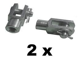2 Stück - Gabelkopf 5x10 - M5 + Sicherungsbolzen /Splintbolzen verzinkt