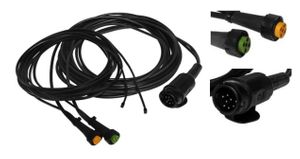 Aspöck trailer cable 5m - 13-pin plug - wiring harness + 0,2m outlet + 10 x cable clamps