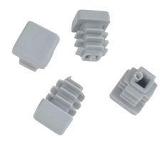 20 Stück - Lamellenstopfen Vierkantrohrstopfen 15 x 15 mm (Außen) Stopfen GRAU