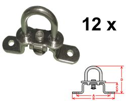 12 pièces - Serrure tournante pour oeillets ovales - galvanisé - 42x22mm - haut