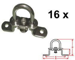 16 pièces - Serrure tournante pour oeillets ovales - galvanisé - 42x22mm - haut