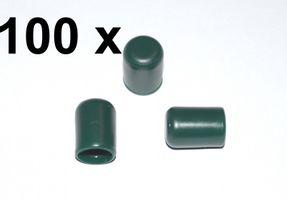 100 x Kappe für Rundrohr D=8 mm L=12 mm grün PVC