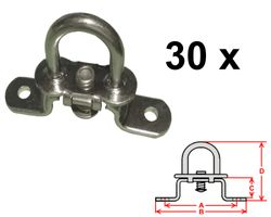 30 Stück - Drehverschluss für Ovalösen - verzinkt - 42x22mm