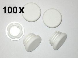 100 x Lamellenstopfen Rundrohrstopfen Ø 35 mm (Außen) Stopfen WEISS