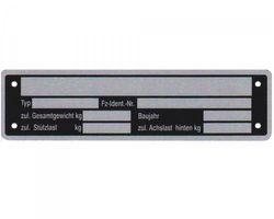 1 x Blanko Typenschild Anhängertypenschild Neutral Anhänger Vers. 2