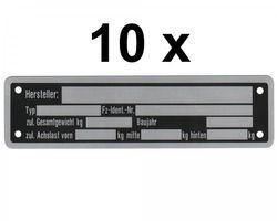 10 x Blanko Typenschild Anhängertypenschild Neutral Anhänger - Vers. 4