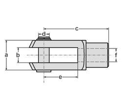 10 Stück - Gabelkopf - 10x40 - M10 mit Splintbolzen - DIN71752 - verzinkt
