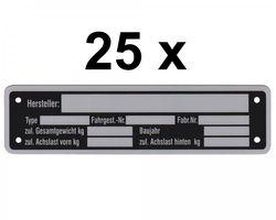 25 x Blanko Typenschild Anhängertypenschild Neutral Anhänger - Vers. 6