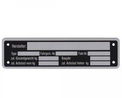 1 x Blanko Typenschild Anhängertypenschild Neutral Anhänger - Vers. 6