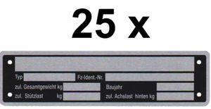 25 x blank plaque signalétique neutre trailer vers 2