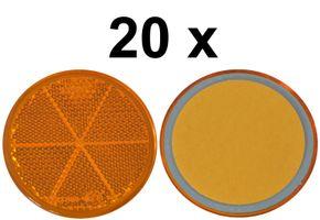 20 x réflecteurs - réflecteur - encollage - Ø 60 mm - ambré - E-mark