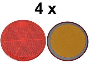 4 x Rückstrahler - Reflektor - Kleben - Ø  60 mm - Rot - E-Prüfzeichen