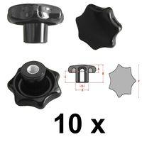 10 Stück Sterngriffmutter - M8 - Ø63 mm - DIN6336 K - Stahlgewinde