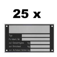 25 x Blanko Typenschild Anhängertypenschild Neutral Anhänger - Vers. 7