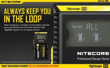 Nitecore Digicharger D2 Ladegerät für 2 Akkus Li-Ionen oder Ni-Mh mit Digitalanzeige – Bild 7