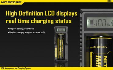 Nitecore UM10 USB Ladegerät für Li-Ionen Akkus mit LCD Display – Bild 3