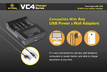 Xtar VC4 USB 4 Schacht Ladegerät für Li-Ionen Akkus – Bild 3