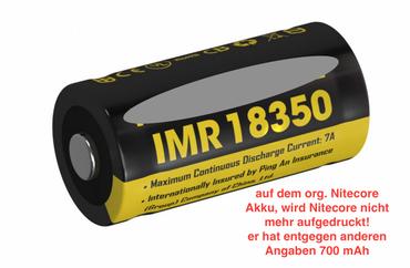 Nitecore IMR Akku -Typ 18350 3,7 V 700 mAh - für EC11