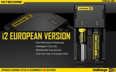 Nitecore Sysmax Intellicharge i2EU Ladegerät für 2 Akkus Li-Ionen oder Ni-Mh - neue EU Version