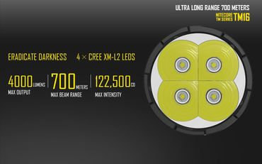 Nitecore TM16 Tiny Monster QuadRay XM-L2 mit 4000 Lumen Ultra Long Range – Bild 9