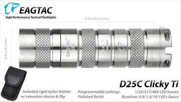 EagTac D25C Clicky 2015 Titan limited Edition neu mit XP-L HD LED – Bild 3