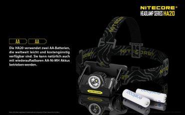 Nitecore HA20  LED Kopflampe für AA Batterien – Bild 6